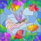 Stained glass illustration with a fairy in the sky and blooming flowers. Illustration in stained glass style with a winged fairy in the sky, flowers and greenery Royalty Free Stock Photos