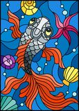 Stained glass illustration  with a fish on a background of shells and water. Illustration in stained glass style with a fish on a background of shells and water Royalty Free Stock Photography