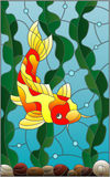 Stained glass illustration with a  fish carp  on the background of water and algae. Illustration in stained glass style with a  fish carp  on the background of Royalty Free Stock Photo
