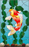 Stained glass illustration  with a  fish carp  on the background of water and algae. Illustration in stained glass style with a  fish carp  on the background of Stock Photos