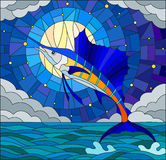Stained glass illustration  with a fish sailboat on the background of water ,cloud, sky ,star and moon Royalty Free Stock Image