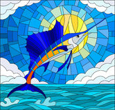 Stained glass illustration  with a fish sailboat on the background of water ,cloud, sky and sun Royalty Free Stock Photography
