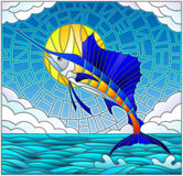 Stained glass illustration  with a fish sailboat on the background of water ,cloud, sky and sun. Illustration in stained glass style with a fish sailboat on the Stock Photo