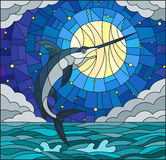 Stained glass illustration  with a fish swordfish on the background of water ,cloud, sky ,star and moon Stock Images