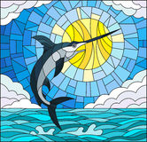 Stained glass illustration  with a fish swordfish on the background of water ,cloud, sky and sun Stock Photo