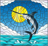 Stained glass illustration  with a fish swordfish on the background of water ,cloud, sky and sun Royalty Free Stock Photo