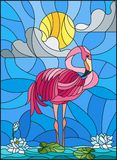 Stained glass illustration  with Flamingo , Lotus flowers and reeds on a pond in the sun, sky and clouds Royalty Free Stock Images