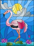 Stained glass illustration  with Flamingo , Lotus flowers and reeds on a pond in the sun, sky and clouds Stock Photography