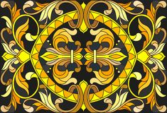 Stained glass illustration with floral ornament ,imitation gold on dark background with swirls and floral motifs Stock Image