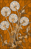 Stained glass illustration  flower of blowball ,brown tone , Sepia,. Illustration in stained glass style flower of blowball ,brown tone , Sepia Royalty Free Stock Image