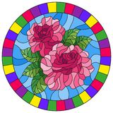 Stained glass illustration flower of pink rose on a blue background in a bright frame,round image. Illustration in stained glass style flower of pink rose on a royalty free illustration