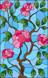 Stained glass illustration  flower of pink rose on a blue background. Illustration in stained glass style flower of pink rose on a blue background Stock Photos