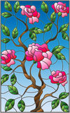 Stained glass illustration  flower of pink rose on a blue background. Illustration in stained glass style flower of pink rose on a blue background Stock Images