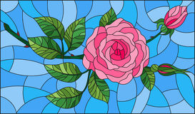 Stained glass illustration  flower of pink rose on a blue background. Illustration in stained glass style flower of pink rose on a blue background Royalty Free Stock Image
