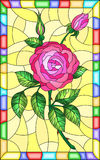 Stained glass illustration  flower of pink rose on a yellow background. Illustration in stained glass style flower of pink rose on a yellow background in a Royalty Free Stock Images