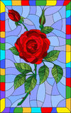 Stained glass illustration flower of red rose on a blue background in a bright frame. Illustration in stained glass style flower of red rose on a blue background Stock Image