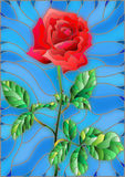 Stained glass illustration flower of red rose on a blue background. Illustration in stained glass style flower of red rose on a blue background Royalty Free Stock Image