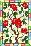 Stained glass illustration  flower of red rose on a light background in a bright ,. Illustration in stained glass style flower of red rose on a light background Royalty Free Stock Images