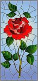 Stained glass illustration  flower of red rose on a sky background. Illustration in stained glass style flower of red rose on a sky background Stock Photo