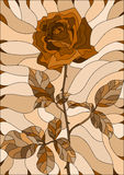 Stained glass illustration  flower of rose ,Sepia, brown scale. Illustration in stained glass style flower of rose ,Sepia, brown scale Stock Image