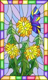Stained glass illustration flower of Taraxacum and butterfly on a blue background in a bright frame. Illustration in stained glass style flower of Taraxacum and Royalty Free Stock Image
