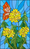Stained glass illustration  flower of Taraxacum and butterfly on a blue background. Illustration in stained glass style flower of Taraxacum and butterfly on a Royalty Free Stock Image
