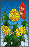 Stained glass illustration  flower of Taraxacum and butterfly on a blue background. Illustration in stained glass style flower of Taraxacum and butterfly on a Stock Image