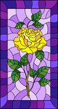 Stained glass illustration  flower of yellow rose on a purple background with bright frame. Illustration in stained glass style flower of yellow rose on a purple Stock Photo