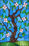Stained glass illustration  with a flowering tree on blue sky background Stock Photo