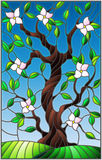 Stained glass illustration  with a flowering tree on blue sky background Royalty Free Stock Photos