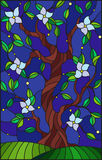 Stained glass illustration  with a flowering tree on starry night  sky background Stock Images