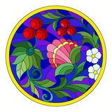 Stained glass illustration with flowers, berries and leaves on a blue background in a circular frame. Illustration in stained glass style with flowers, berries stock illustration