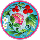 Stained glass illustration with flowers, berries and leaves on a blue background in a circular frame. Illustration in stained glass style with flowers, berries royalty free illustration