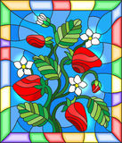 Stained glass illustration with flowers, berries and leaves of strawberry in a bright frame. Illustration in stained glass style with flowers, berries and leaves vector illustration