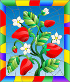Stained glass illustration with flowers, berries and leaves of strawberry in a bright frame. Illustration in stained glass style with flowers, berries and leaves royalty free illustration