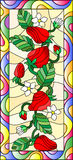 Stained glass illustration  with flowers, berries and leaves of strawberry in a bright frame,vertical orientation Royalty Free Stock Photo