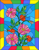 Stained glass illustration with flowers , berries and leaves of wild rose in a bright frame. Illustration in stained glass style with flowers , berries and Royalty Free Stock Photo