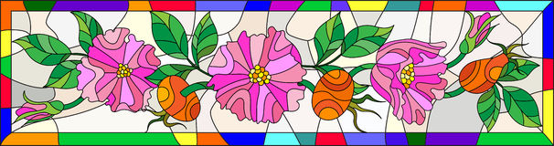 Stained glass illustration with flowers , berries and leaves of wild rose in a bright frame. Illustration in stained glass style with flowers , berries and stock illustration