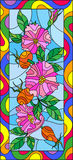 Stained glass illustration with flowers , berries and leaves of wild rose in a bright frame,vertical orientation Royalty Free Stock Image
