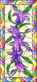 Stained glass illustration  with flowers, buds and leaves of bluebells flowers,vertical orientation Royalty Free Stock Photos
