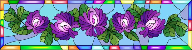 Stained glass illustration with flowers, buds and leaves of clover in a bright frame ,horizontal orientation Royalty Free Stock Photography