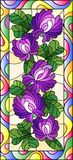 Stained glass illustration with flowers, buds and leaves of clover in a bright frame ,vertical orientation. Illustration in stained glass style with flowers royalty free illustration