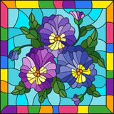 Stained glass illustration with flowers, buds , leaves and flowers of pansy on a blue background in a bright frame Royalty Free Stock Image