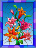 Stained glass illustration  with flowers, buds and leaves of Lily in bright frame. Illustration in stained glass style with flowers, buds and leaves of Lily Royalty Free Stock Images