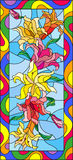 Stained glass illustration  with flowers, buds and leaves of Lily,vertical orientation Stock Image