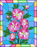 Stained glass illustration with flowers, buds and leaves of  pink peonies on a blue  background in bright frame Stock Photos