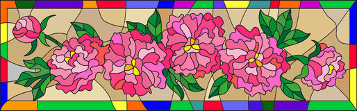 Stained glass illustration  with flowers, buds and leaves of  pink peonies on a brown background in bright frame,horizontal orient Stock Photos