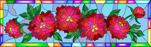 Stained glass illustration with flowers, buds and leaves of  red peonies on a blue background in bright frame,horizontal orientati Royalty Free Stock Images