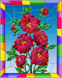 Stained glass illustration with flowers, buds and leaves of  red peonies on a blue background in a bright frame Royalty Free Stock Images