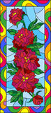 Stained glass illustration with flowers, buds and leaves of red peonies on a blue background in bright frame,vertical orientation. Illustration in stained glass royalty free illustration